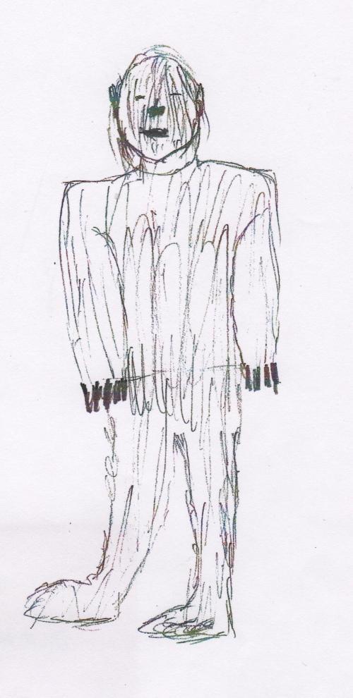 Eye witness sketch by Judy Wallerman for Hunting the American Werewolf by Linda S Godfrey
