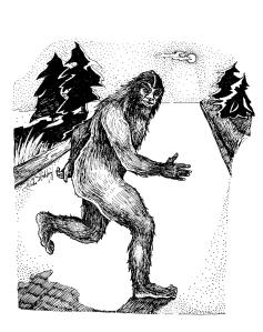 Sasquatch illustration by Linda S. Godfrey for American Monsters
